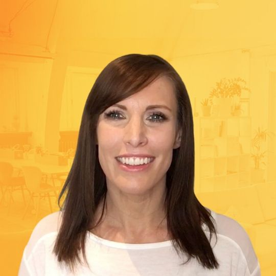 Hayley Dyer with yellow background