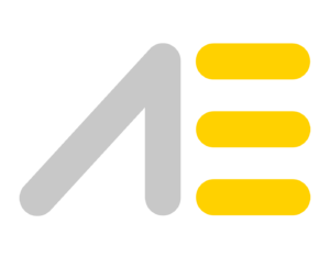 Grey and Yellow AE Academy Logo